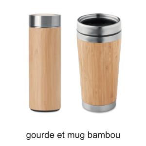 gourde et mug en bambou